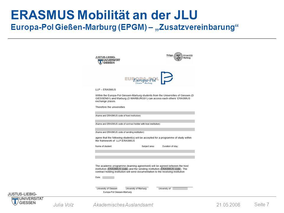 """ERASMUS Mobilität an der JLU Europa-Pol Gießen-Marburg (EPGM) – """"Zusatzvereinbarung"""