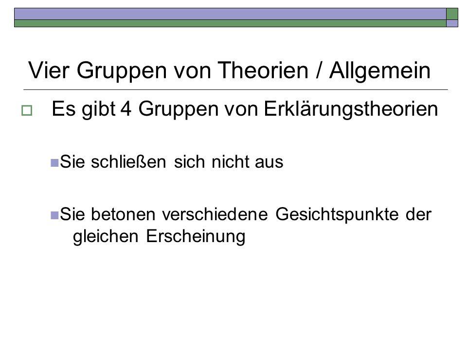 Vier Gruppen von Theorien / Allgemein