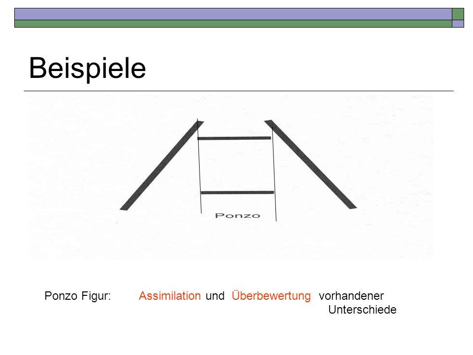 Beispiele Ponzo Figur: Assimilation und Überbewertung vorhandener Unterschiede
