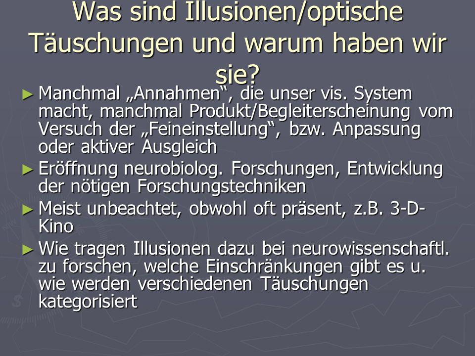 Was sind Illusionen/optische Täuschungen und warum haben wir sie