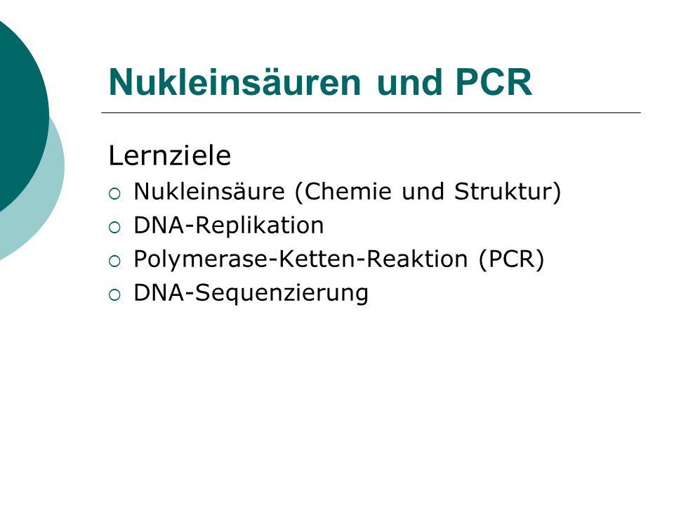 Nukleinsäuren und PCR Lernziele Nukleinsäure (Chemie und Struktur)