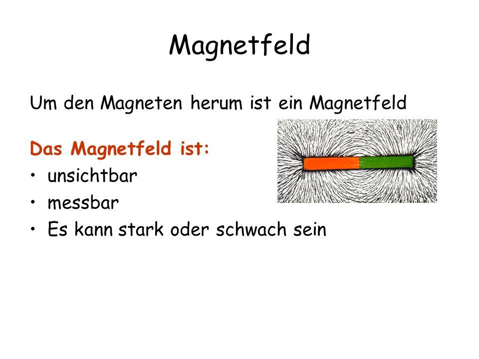 Magnetfeld Um den Magneten herum ist ein Magnetfeld