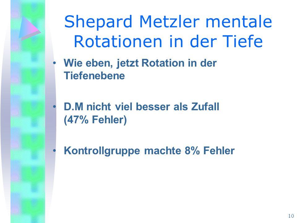 Shepard Metzler mentale Rotationen in der Tiefe