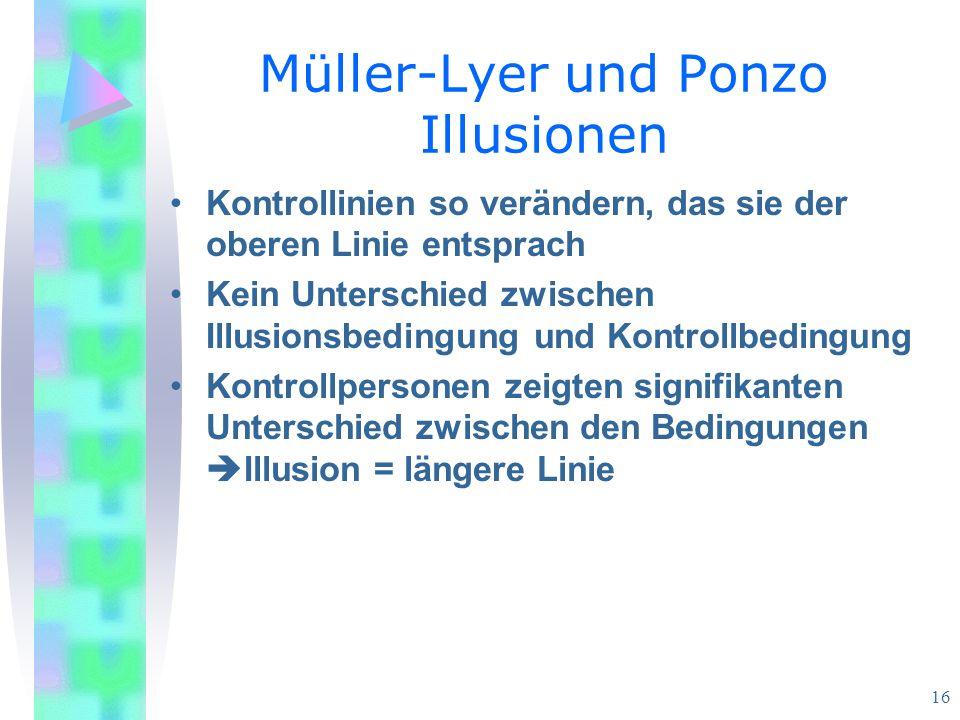 Müller-Lyer und Ponzo Illusionen