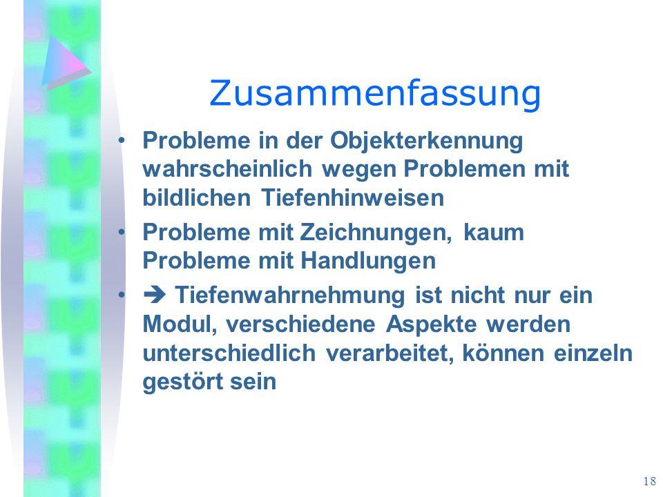 Zusammenfassung Probleme in der Objekterkennung wahrscheinlich wegen Problemen mit bildlichen Tiefenhinweisen.