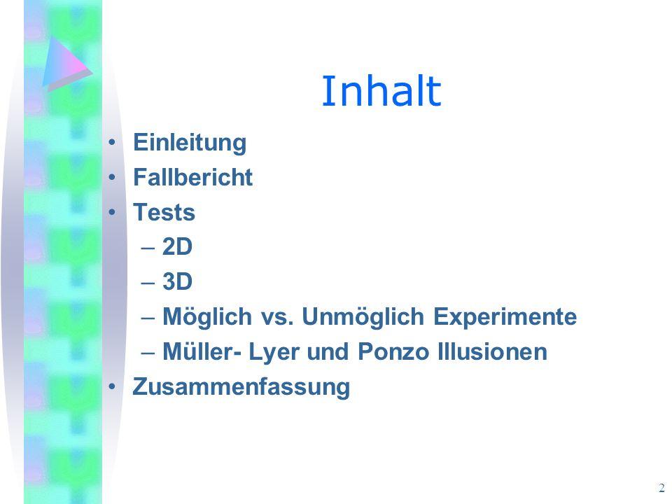 Inhalt Einleitung Fallbericht Tests 2D 3D
