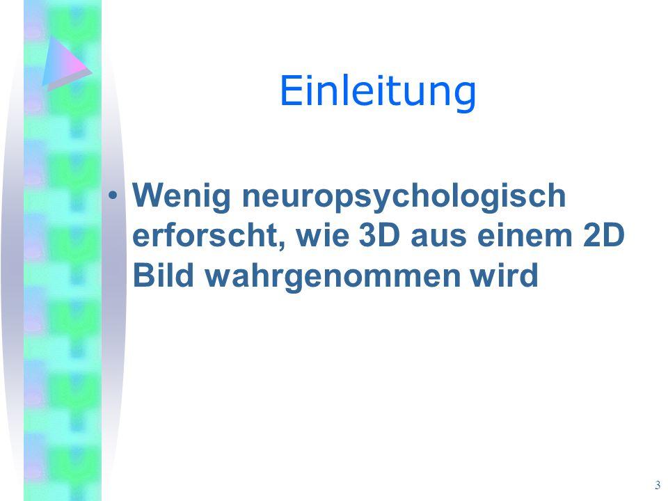 Einleitung Wenig neuropsychologisch erforscht, wie 3D aus einem 2D Bild wahrgenommen wird