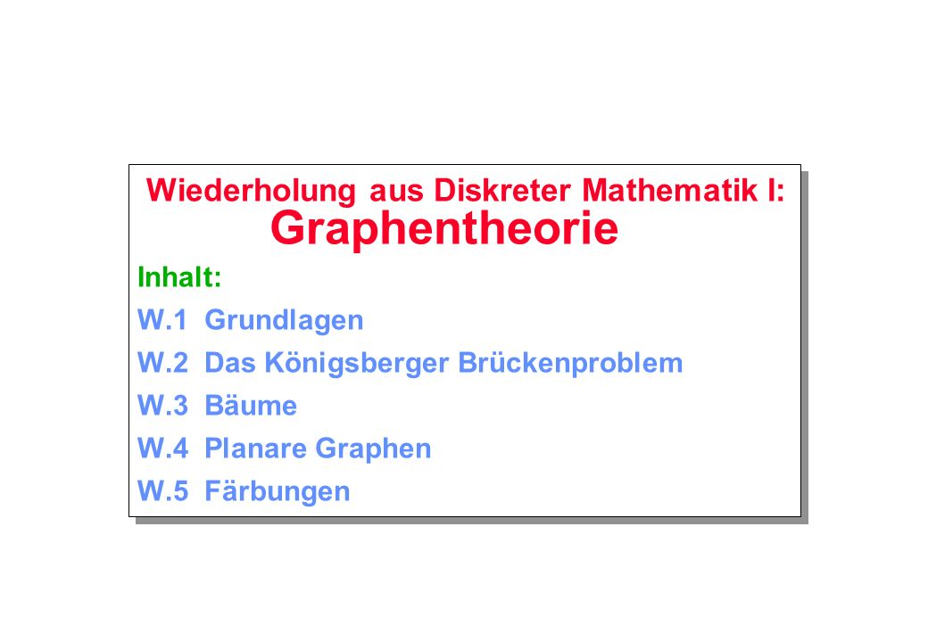 Wiederholung aus Diskreter Mathematik I: Graphentheorie Inhalt: W
