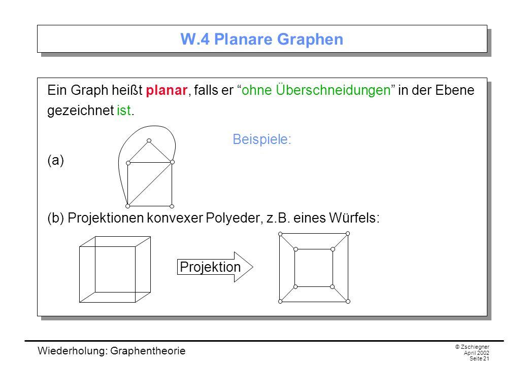 W.4 Planare Graphen Ein Graph heißt planar, falls er ohne Überschneidungen in der Ebene gezeichnet ist.