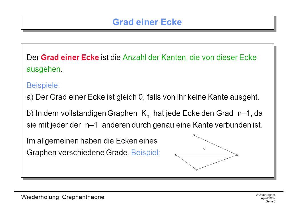 Grad einer Ecke Der Grad einer Ecke ist die Anzahl der Kanten, die von dieser Ecke ausgehen.