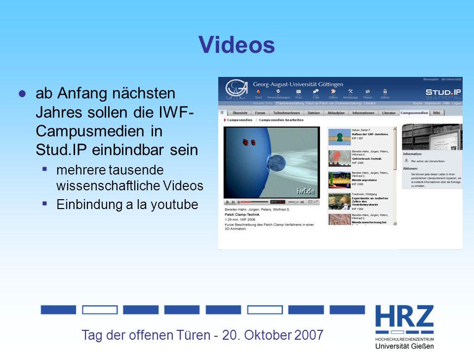 Videos ab Anfang nächsten Jahres sollen die IWF-Campusmedien in Stud.IP einbindbar sein. mehrere tausende wissenschaftliche Videos.
