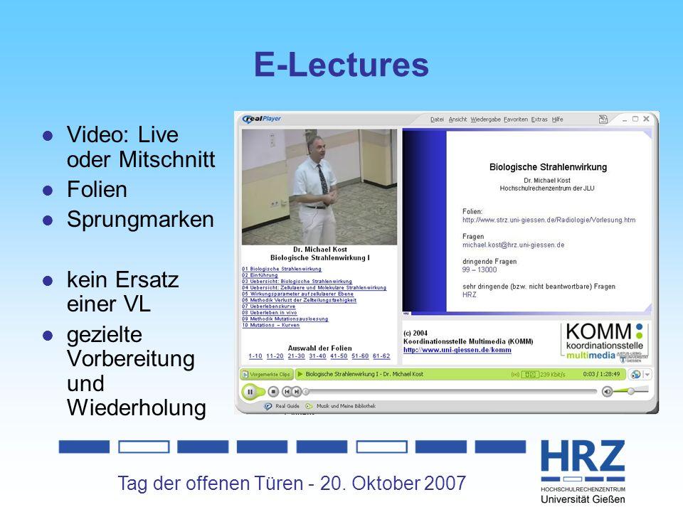 E-Lectures Video: Live oder Mitschnitt Folien Sprungmarken