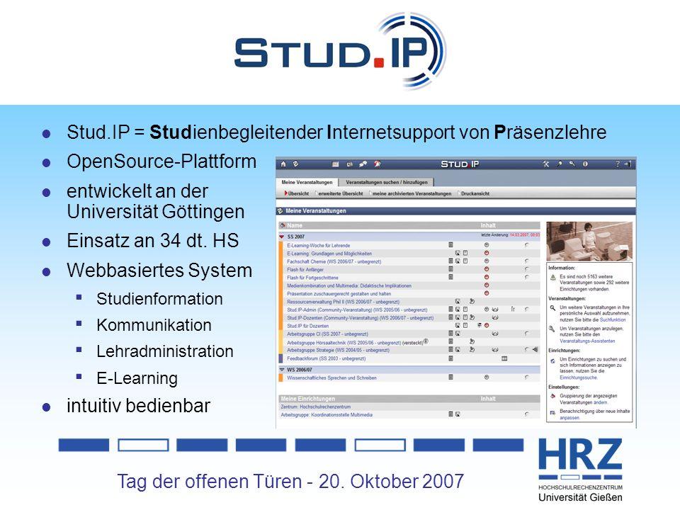 Stud.IP Stud.IP = Studienbegleitender Internetsupport von Präsenzlehre