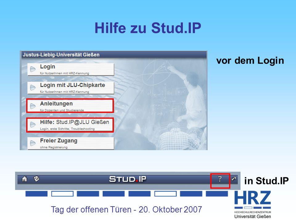 Hilfe zu Stud.IP vor dem Login in Stud.IP