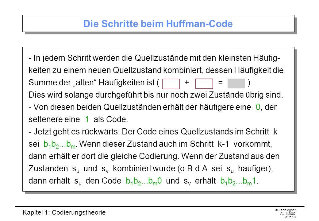 Die Schritte beim Huffman-Code
