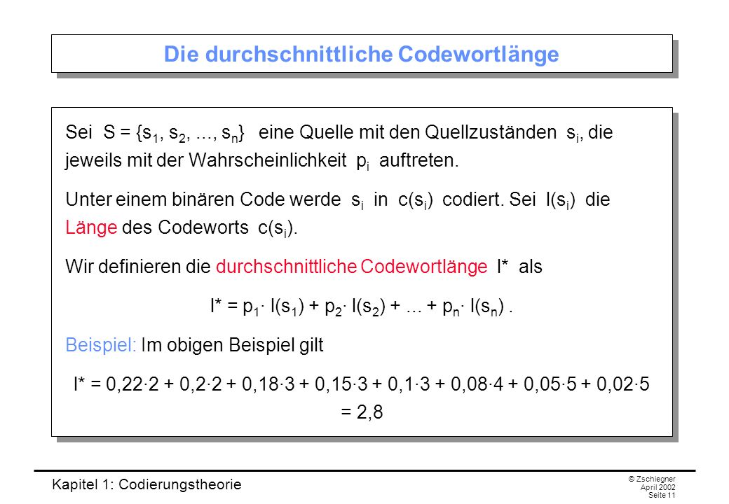 Die durchschnittliche Codewortlänge