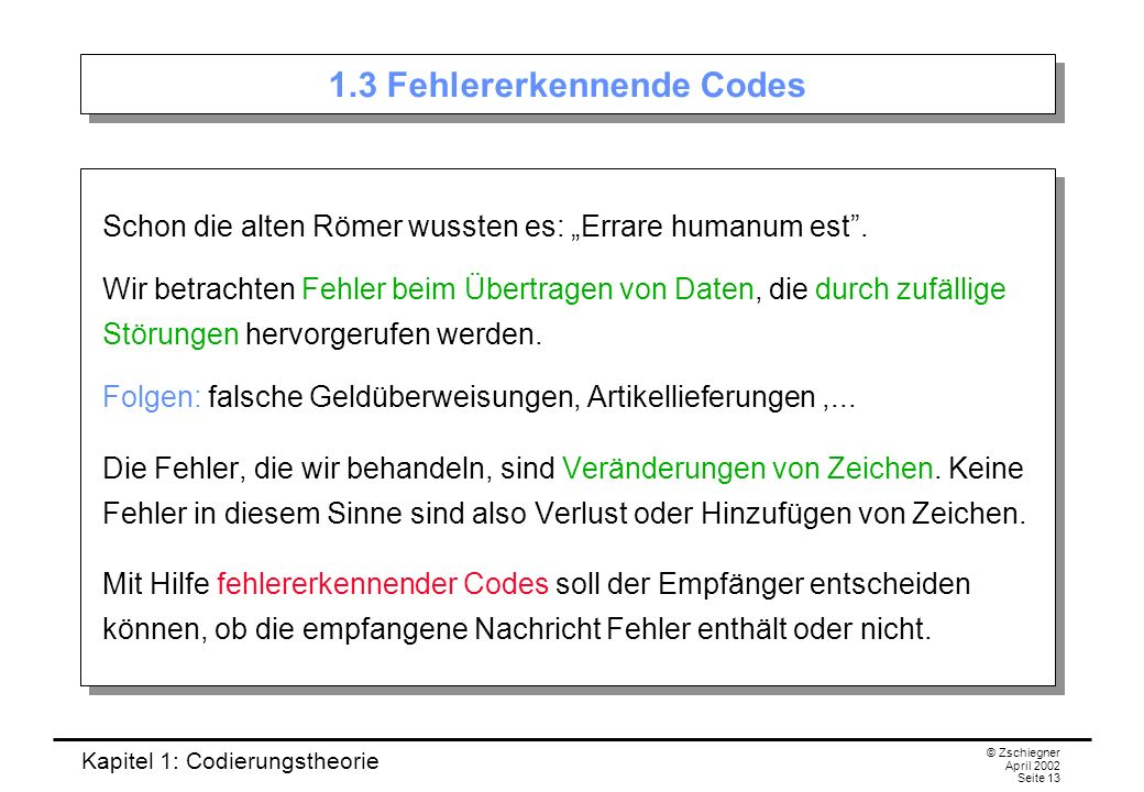 1.3 Fehlererkennende Codes