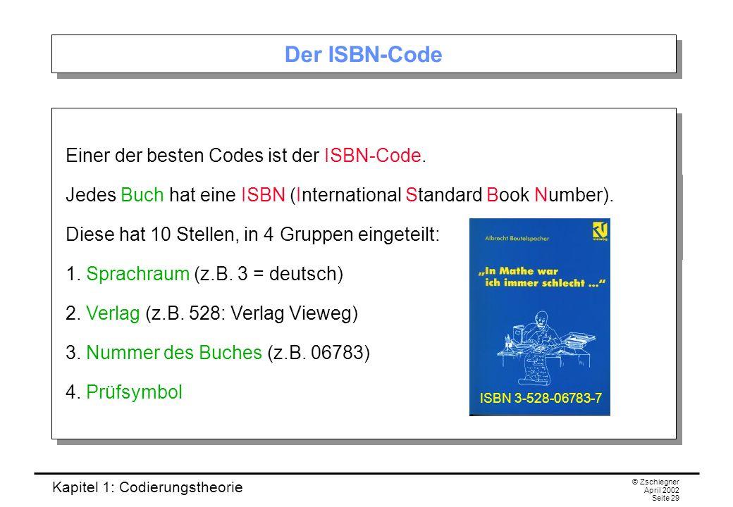 Der ISBN-Code Einer der besten Codes ist der ISBN-Code.