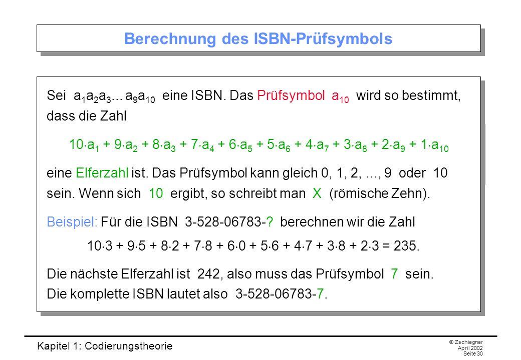 Berechnung des ISBN-Prüfsymbols