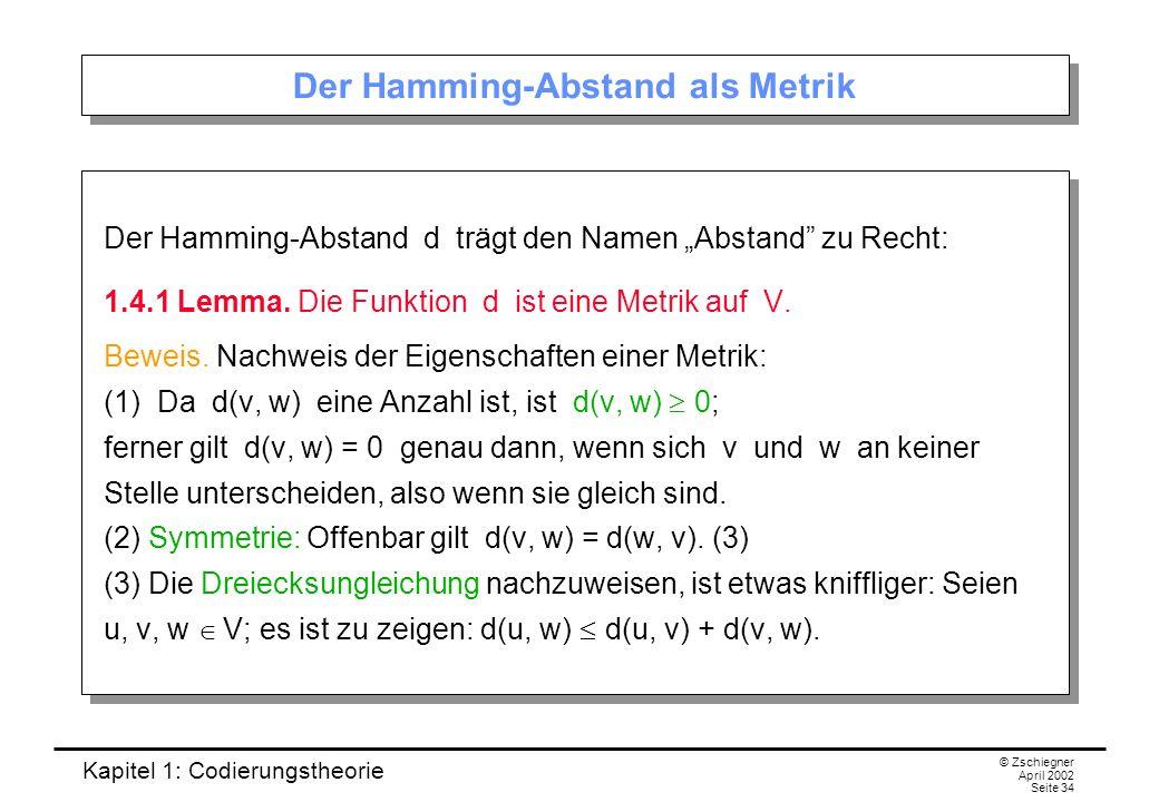 Der Hamming-Abstand als Metrik
