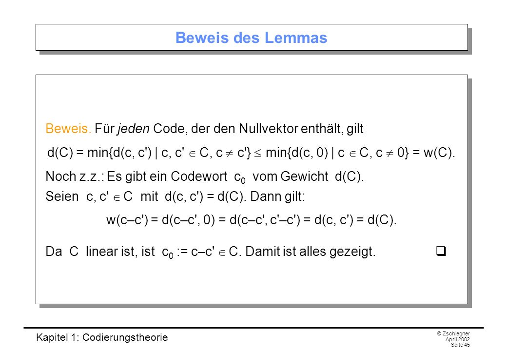 w(c–c ) = d(c–c , 0) = d(c–c ' c –c ) = d(c, c ) = d(C).