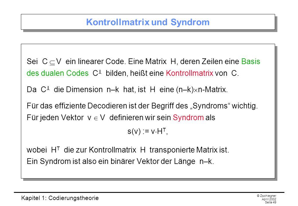 Kontrollmatrix und Syndrom