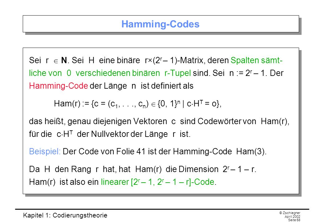 Hamming-Codes
