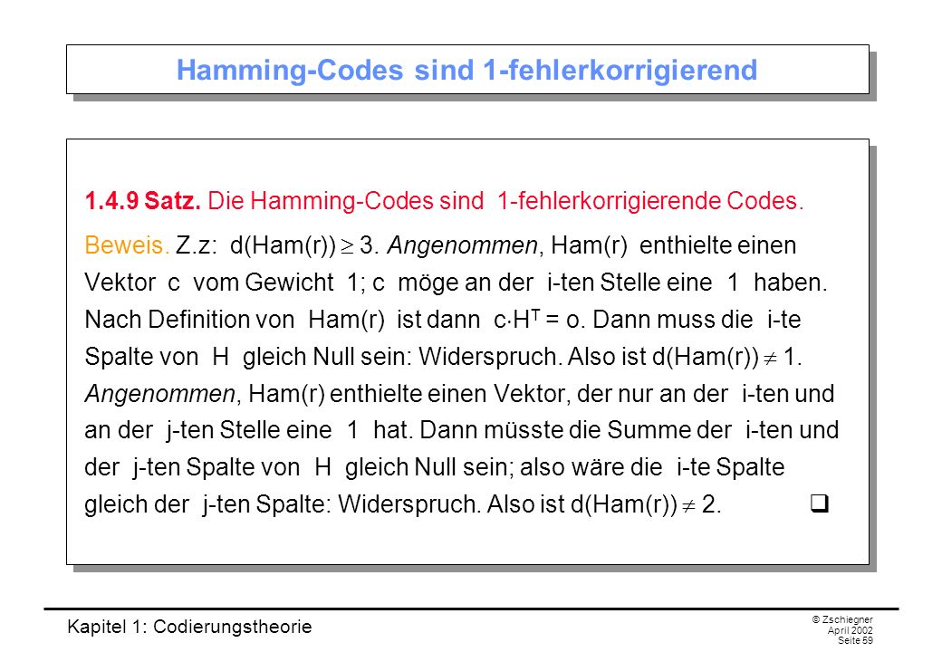 Hamming-Codes sind 1-fehlerkorrigierend