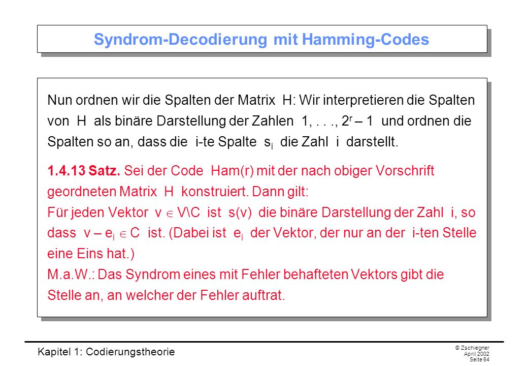 Syndrom-Decodierung mit Hamming-Codes