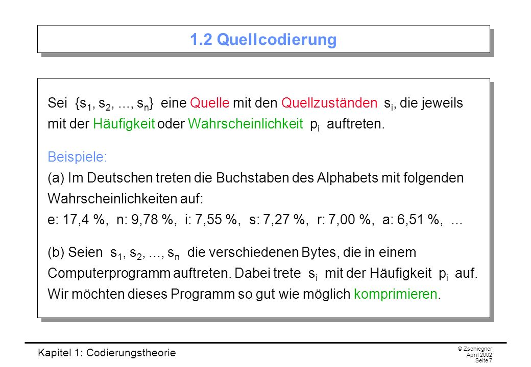 1.2 Quellcodierung
