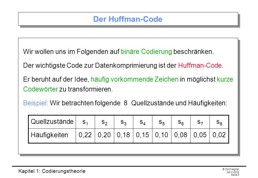 Der Huffman-Code Wir wollen uns im Folgenden auf binäre Codierung beschränken. Der wichtigste Code zur Datenkomprimierung ist der Huffman-Code.