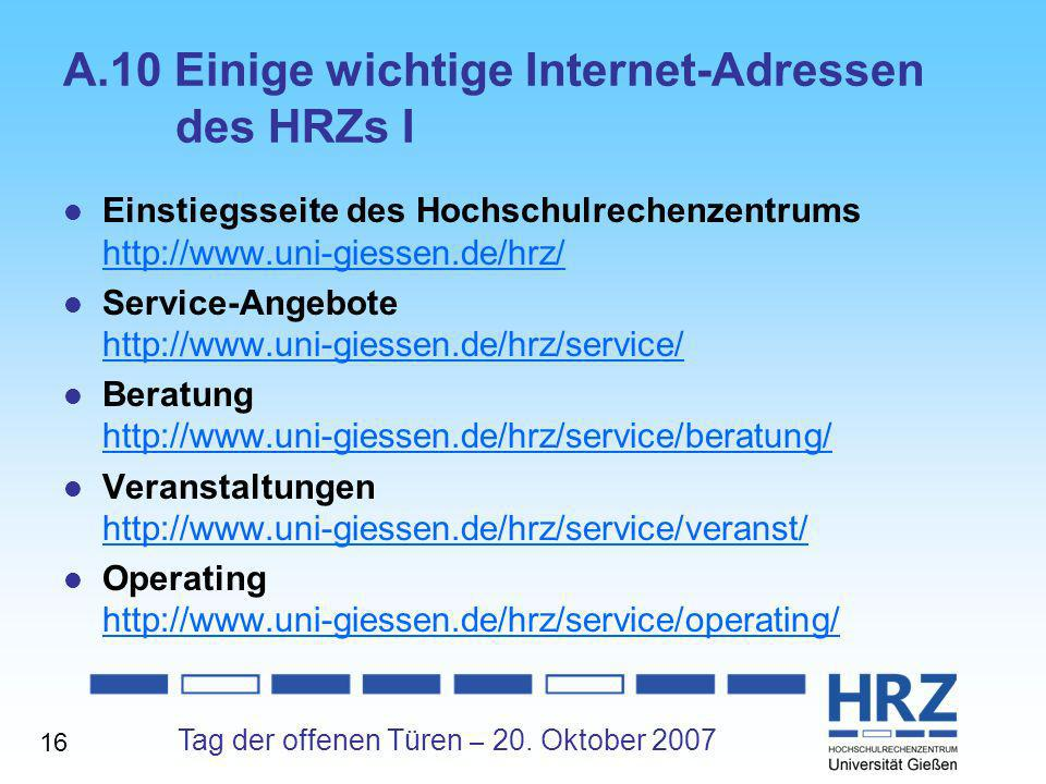 A.10 Einige wichtige Internet-Adressen des HRZs I