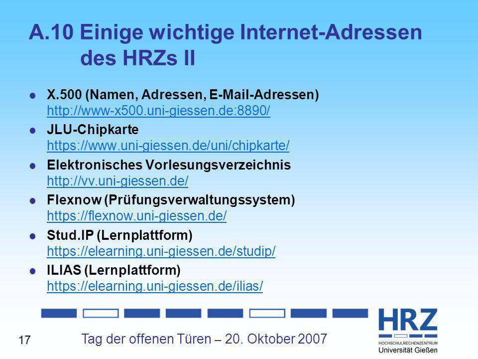 A.10 Einige wichtige Internet-Adressen des HRZs II