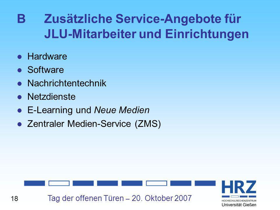 B Zusätzliche Service-Angebote für JLU-Mitarbeiter und Einrichtungen