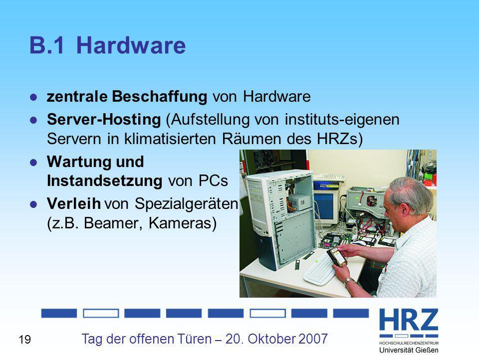 B.1 Hardware zentrale Beschaffung von Hardware