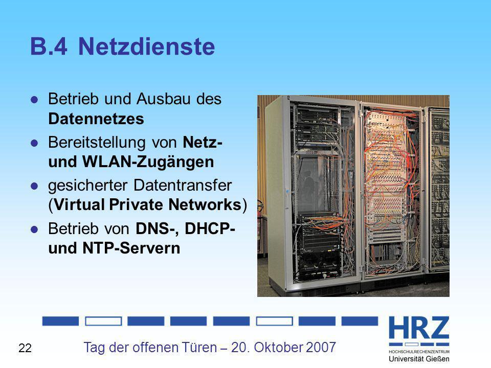 B.4 Netzdienste Betrieb und Ausbau des Datennetzes