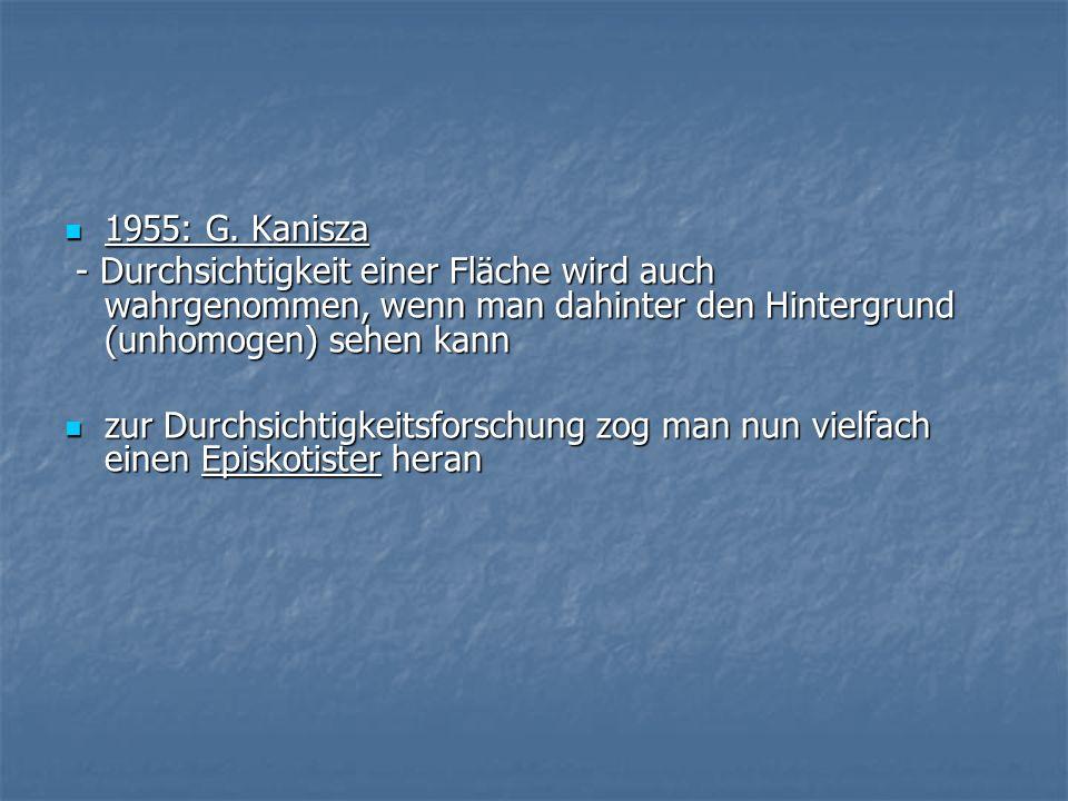 1955: G. Kanisza- Durchsichtigkeit einer Fläche wird auch wahrgenommen, wenn man dahinter den Hintergrund (unhomogen) sehen kann.