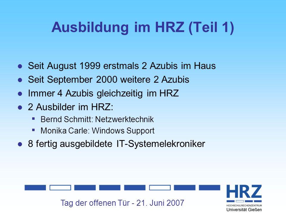 Ausbildung im HRZ (Teil 1)