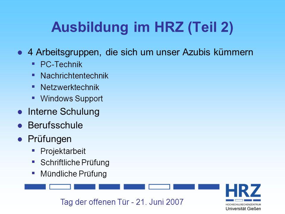 Ausbildung im HRZ (Teil 2)