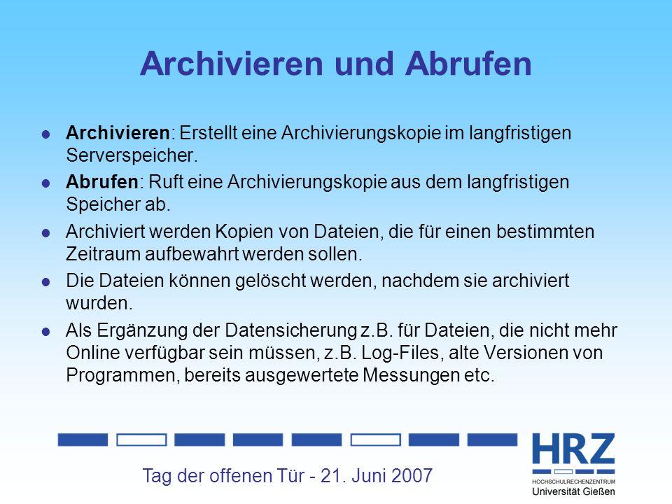 Archivieren und Abrufen