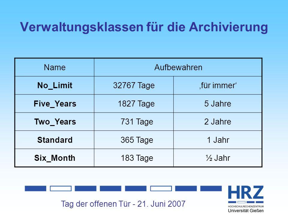 Verwaltungsklassen für die Archivierung