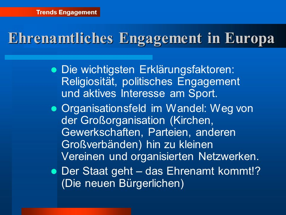 Ehrenamtliches Engagement in Europa