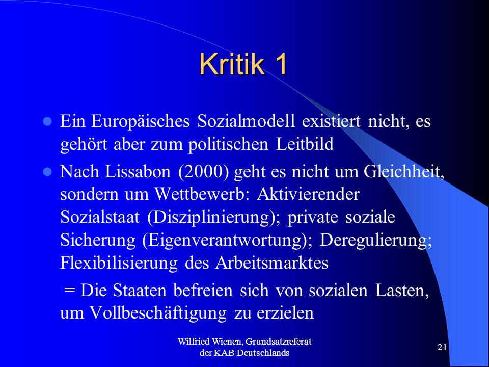 Wilfried Wienen, Grundsatzreferat der KAB Deutschlands