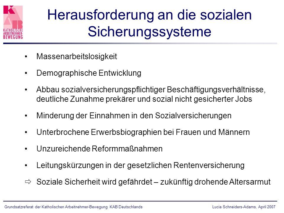 Herausforderung an die sozialen Sicherungssysteme