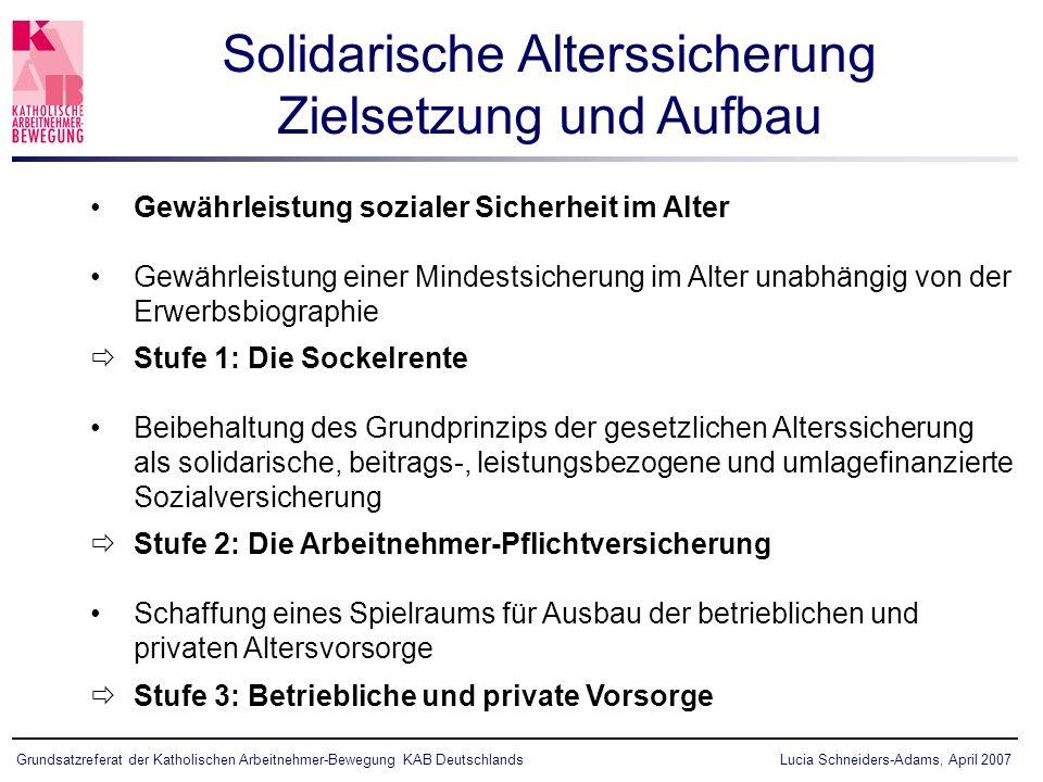 Solidarische Alterssicherung Zielsetzung und Aufbau
