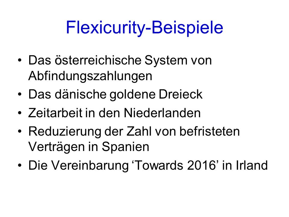 Flexicurity-Beispiele