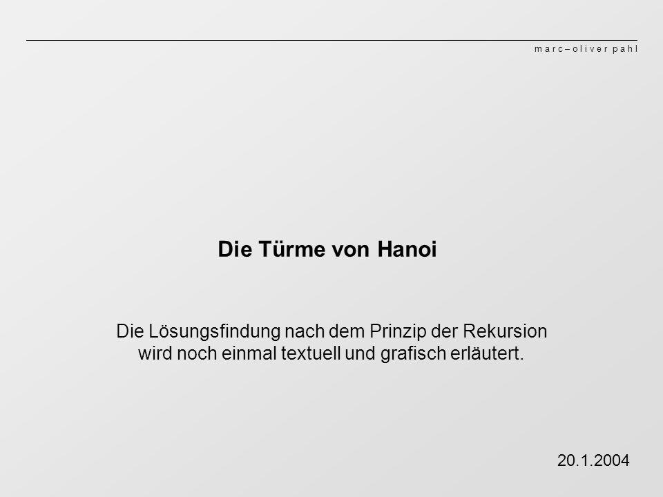 Die Türme von HanoiDie Lösungsfindung nach dem Prinzip der Rekursion wird noch einmal textuell und grafisch erläutert.
