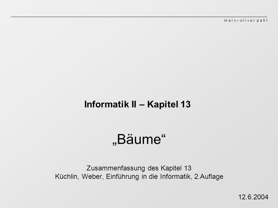 Informatik II – Kapitel 13