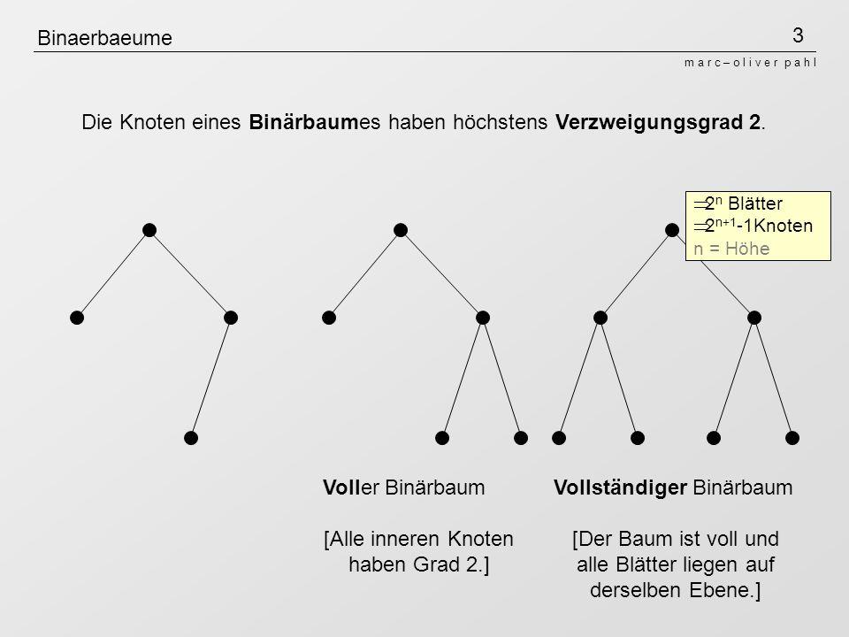 Die Knoten eines Binärbaumes haben höchstens Verzweigungsgrad 2.