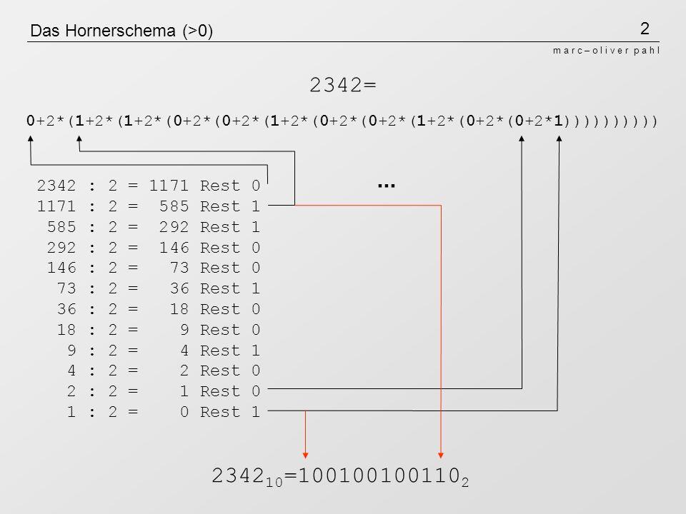 Das Hornerschema (>0)